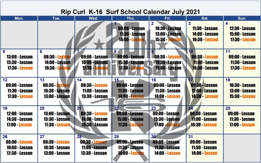 Surf lessons schedule