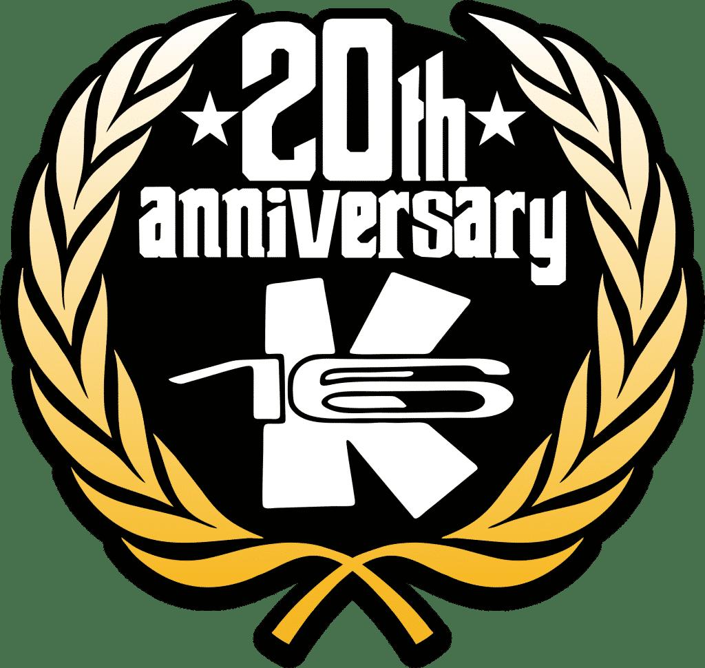 Logo oficial del aniversario K16 Surf School & Surf Shop Tenerife.