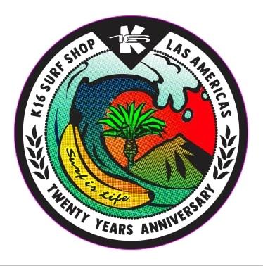Logo oficial de aniversario de K16 Surf School & Surf Shop Tenerife.