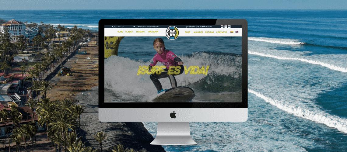 Imagen de portada anunciando nuestra nueva web en k16 surf school Tenerife